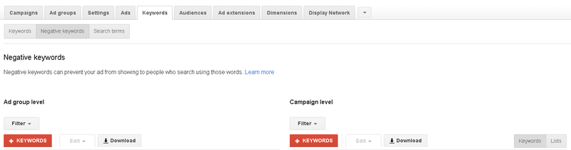 Adding negative keywords into Google AdWords