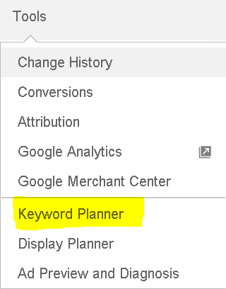 Image of the Google AdWords Keyword Planner Tool